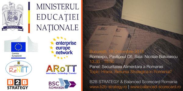 Agenda Forum Inovare 2013. B2B Strategy & Balanced Scorecard Romania. Siguranta Alimentara a Romaniei: